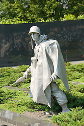 Washington DC; USA: The Korean War Veterans Memorial. The statue of a soldier in a platoon marches warily across a field..Photo copyright Lee Foster Photo # 9-washdc83232