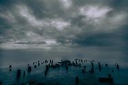 Lake Michigan Great Lakes pylons at night in fog