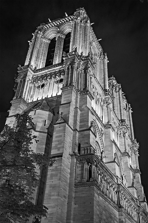 Nighttime Notre Dame, Paris, France