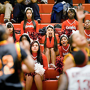 December 15, 2010 - Bronx, NY : The John F. Kennedy high school cheerleaders react as Murry Bergtraum takes the lead during the Knights' 67-58 loss to the Murry Bergtraum Lady Blazers on Dec. 15.