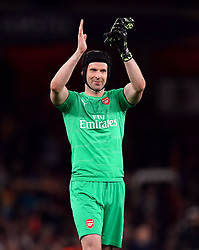 Arsenal goalkeeper Petr Cech applauds the fans after the game