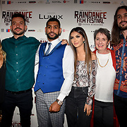 Oliver Clark (2L), Amir Khan and Faryal Makhdoom ,Blair MacDonald (R) with guests attend World Premiere of Team Khan - Raindance Film Festival 2018 at Vue Cinemas - Piccadilly, London, UK. 29 September 2018.