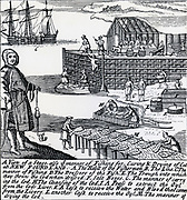 Salting and drying Cod and, at K, a press to extract cod liver oil, Newfoundland. Engraving 1738.