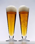 Two glasses of beer.