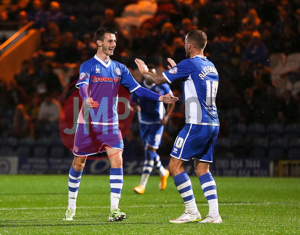 Scott Tanser of Rochdale celebrates after scoring the opening goal  - Mandatory byline: Matt McNulty/JMP - 07966 386802 - 06/10/2015 - FOOTBALL - Spotland Stadium - Rochdale, England - Rochdale v Chesterfield - Johnstones Paint Trophy