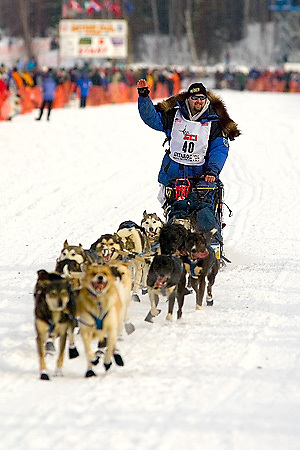 05 March 2006: Willow, Alaska - Warren Palfrey of Yellowknife, NWF Canada, at the restart of the 2006 Iditarod on Willow Lake in Willow, Alaska