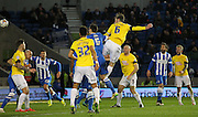 Derby County's Richard Keogh heads at goal during the Sky Bet Championship match between Brighton and Hove Albion and Derby County at the American Express Community Stadium, Brighton and Hove, England on 3 March 2015. Photo by Phil Duncan.