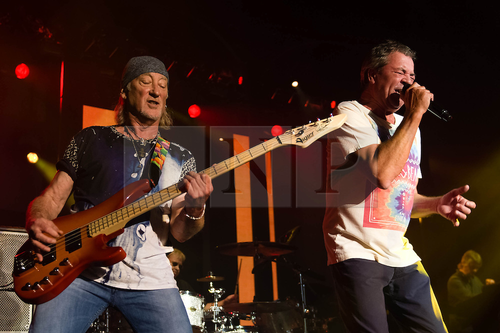 © Licensed to London News Pictures. 16/10/2013. London, UK.   Deep Purple performing live at The Roundhouse. Deep Purple consist of members Ian Paice (drums, percussion),<br /> Roger Glover (bass),Ian Gillan (vocals),Steve Morse (guitar), Don Airey (organ).  In this pic - Roger Glover (left), Ian Paice (2nd from left), Ian Gillan (2nd from right), Don Airey (right)Photo credit : Richard Isaac/LNP