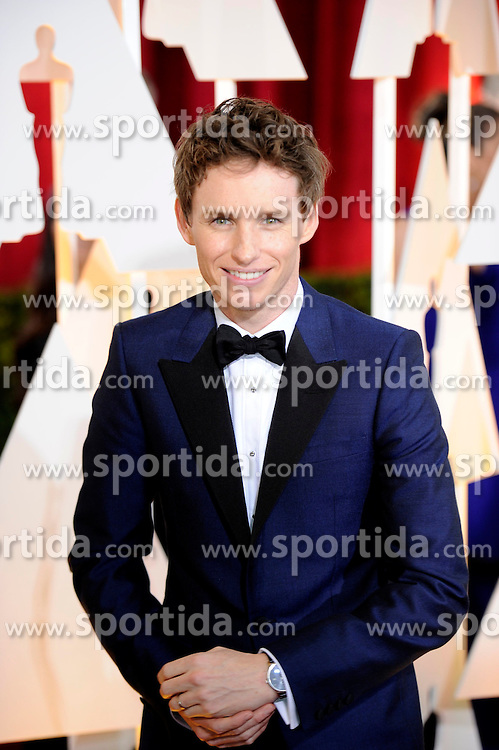 Eddie Redmayne, best actor nominee for his role in &quot;The Theory of Everything&quot;, arrives for the red carpet of the 87th Academy Awards at the Dolby Theater in Los Angeles, the United States, on Feb. 22, 2015. EXPA Pictures &copy; 2015, PhotoCredit: EXPA/ Photoshot/ Yang Lei<br /> <br /> *****ATTENTION - for AUT, SLO, CRO, SRB, BIH, MAZ only*****