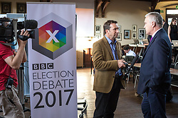 © Licensed to London News Pictures. 31/05/2017. Cambridge, UK. News crews in the spin room ahead of the BBC General Election Debate which takes place in Cambridge this evening. Photo credit: Rob Pinney/LNP