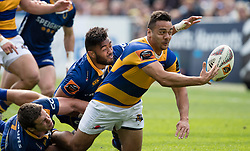 Bay of Plentys Chase Tiatia, right, offloads a pass against Otago in the Mitre 10 Cup rugby match, Forsyth Barr Stadium, Dunedin, New Zealand, Oct. 7 2017.  Credit:SNPA / Adam Binns ** NO ARCHIVING**