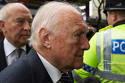 © Licensed to London News Pictures . 17/06/2013 . Preston , UK . STUART HALL arrives at Preston Crown Court this morning (Monday 17th June) for sentencing . The 83 year old TV presenter admitted indecently assaulting 13 girls aged nine up . A further charge of rape has been ordered to lie on file . Photo credit : Joel Goodman/LNP