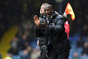 Southend United manager Chris Powell applauds his team from the dug out during the EFL Sky Bet League 1 match between Southend United and Oxford United at Roots Hall, Southend, England on 6 October 2018.