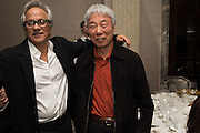 ANISH KAPOOR; LEE UFAN, Anish Kapoor and Lee Ufan preview dinner hosted by the Lisson Gallery after the opening on Bell St. The Connaught. London. 23 March 2015