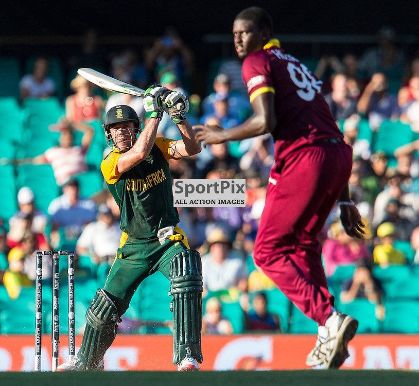 ICC Cricket World Cup 2015 Tournament Match, South Africa v West Indies, Sydney Cricket Ground; 27th February 2015<br /> South Africa&rsquo;s AB De Villiers hits another boundary off the bowling of West Indies Jason Holder