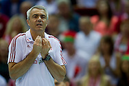 Andrea Anastasi trainer coach team of Poland during the 2013 CEV VELUX Volleyball European Championship match between Poland and France at Ergo Arena in Gdansk on September 21, 2013.<br /> <br /> Poland, Gdansk, September 21, 2013<br /> <br /> Picture also available in RAW (NEF) or TIFF format on special request.<br /> <br /> For editorial use only. Any commercial or promotional use requires permission.<br /> <br /> Mandatory credit:<br /> Photo by © Adam Nurkiewicz / Mediasport