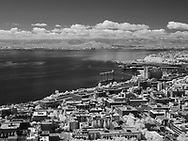 Black and white view of harbor from Space Needle