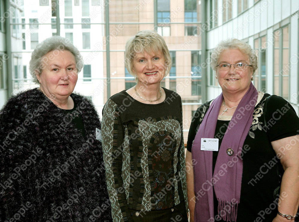 Marian Harkin MEP, co-founder of the European Parliament Special Interest Group on Carers, this  week hosted a visit by carers from Ireland at a seminar  'The Social Package/discrimination and Social Inclusion' in Brussels.  Pictured at the event were<br /> (L to R): Helen Kelly, Ennis; Marian Harkin MEP and Susan Hogan, Ennis.