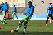 Forest Green Rovers Isaiah Osbourne(34) warming up during the EFL Sky Bet League 2 match between Morecambe and Forest Green Rovers at the Globe Arena, Morecambe, England on 17 February 2018. Picture by Shane Healey.