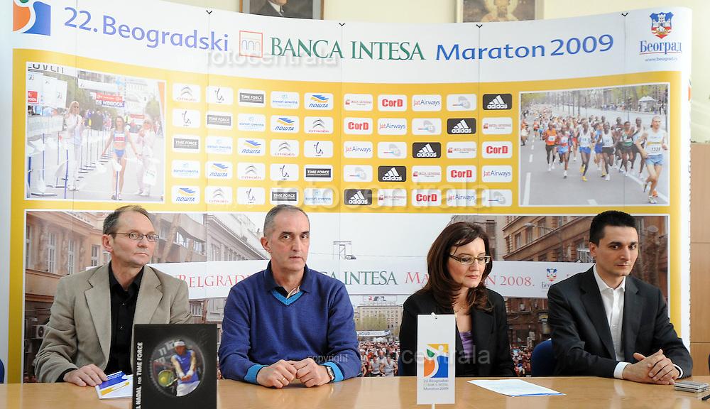 ATLETIKA, Beograd 7. Apr. 2009. - Detalj sa konferencije za novinare povodom ovogodisnjeg, 22. Beogradskog Banca Intesa maratona. FOTO NENAD NEGOVANOVIC