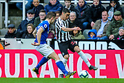 Miguel Almiron (#24) of Newcastle United takes on Jonjoe Kenny (#43) of Everton during the Premier League match between Newcastle United and Everton at St. James's Park, Newcastle, England on 9 March 2019.