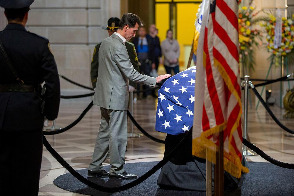 Sen. Mark Leno as San Francisco Mayor Ed Lee lies in state at City Hall on Friday, Dec. 15, 2017, in San Francisco, Calif. Lee died on Tuesday from a heart attack. He was 65 years old.