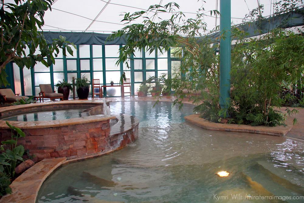 North America, United States, New Mexico, Taos. El Monte Sagrado eco-resort. The Living Spa Aqua Center and Biolarium.