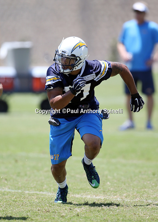 San Diego Chargers safety Jimmy Wilson (27) chases the action during the San Diego Chargers Spring 2015 NFL minicamp practice on Wednesday, June 17, 2015 in San Diego. (©Paul Anthony Spinelli)