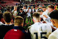 England U20 huddle after Wales U20 win 22-23 - Rogan/JMP - 06/03/2020 - Kingsholm Stadium - Gloucester, England - England U20 v Wales U20 - Under 20 Six Nations.