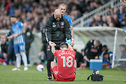 John O'Sullivan (Carlisle United) receives treatment from the physio during a lengthy stoppage during the EFL Sky Bet League 2 match between Hartlepool United and Carlisle United at Victoria Park, Hartlepool, England on 14 April 2017. Photo by Mark P Doherty.
