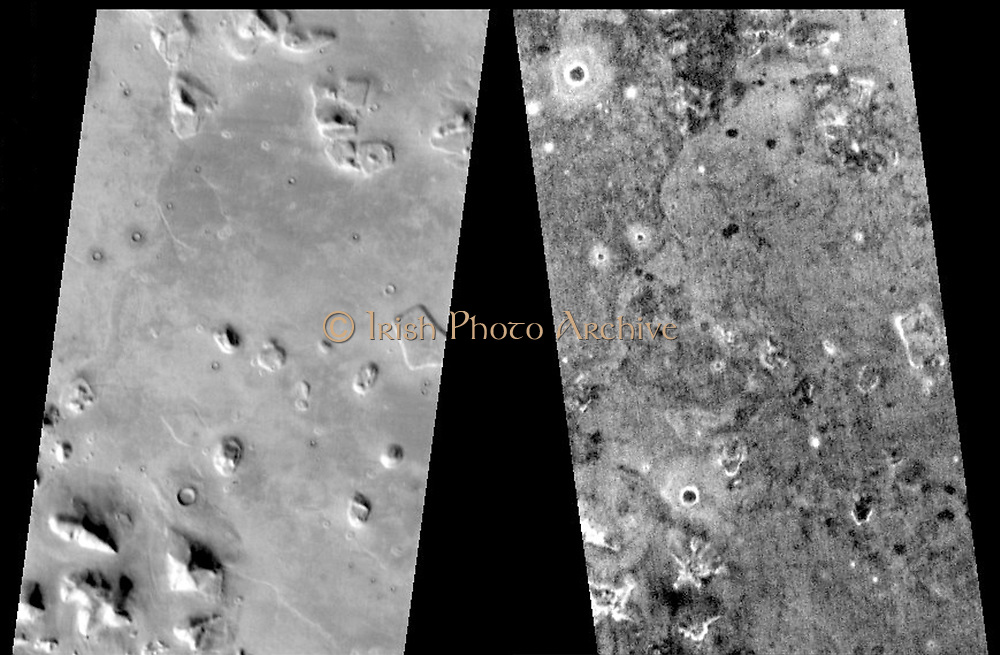 This pair of THEMIS infrared images shows the so-called 'face on Mars' landform viewed during both the day and night.