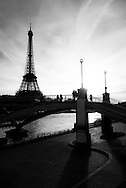 France. Paris. barges on the Seine river and Eiffel tower