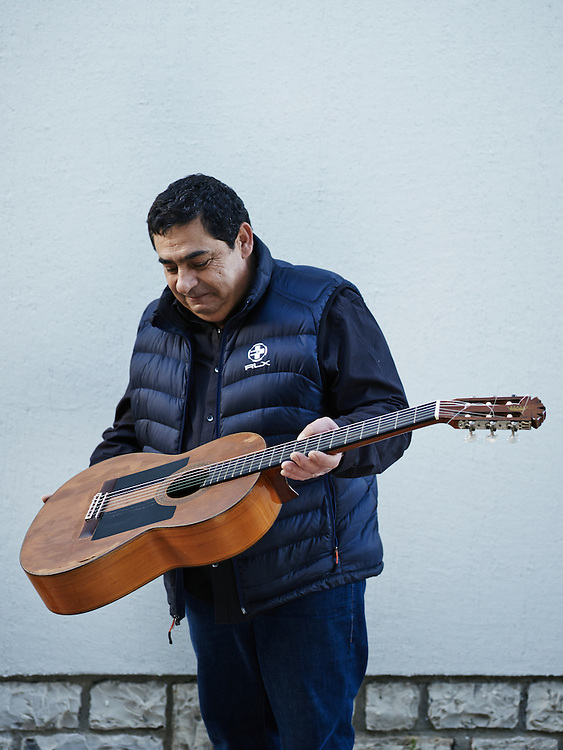 TOULOUSE, FRANCE. DECEMBER 18, 2013. Tonino Baliardo, lead guitarist of the Gipsy Kings with his 1977 Felix Manzanero guitar (Santa Ana 12). One of the very first he used in the band. Photo: Antoine Doyen