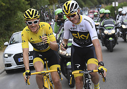 July 29, 2018 - Paris Champs-Elysees, France - PARIS CHAMPS-ELYSEES, FRANCE - JULY 29 :  champagne for THOMAS Geraint (GBR) of Team SKY, FROOME Chris (GBR) of Team SKY during stage 21 of the 105th edition of the 2018 Tour de France cycling race, a stage of 116 kms between Houilles and Paris Champs-Elysees on July 29, 2018 in Paris Champs-Elysees, France, 29/07/18 (Credit Image: © Panoramic via ZUMA Press)