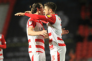 GOAL John Marquis celebrates his second and the fourth goal 4-0  during the EFL Sky Bet League 1 match between Doncaster Rovers and Rochdale at the Keepmoat Stadium, Doncaster, England on 1 January 2019.