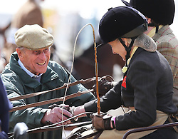 The Duke of Edinburgh meets competitors in the Driving for the Disabled competition at the Royal Windsor Horse Show, Thursday,  May 9th 2013.  Photo by: Stephen Lock / i-Images