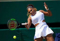 LONDON, ENGLAND - Thursday, July 11, 2019: Serena Williams (USA) during the Ladies' Singles semi-final match on Day Ten of The Championships Wimbledon 2019 at the All England Lawn Tennis and Croquet Club. Williams won 6-1, 6-2. (Pic by Kirsten Holst/Propaganda)