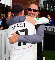Matt Maynard, Director of cricket for Somerset celebrates victory with Jack Leach.  - Mandatory by-line: Alex Davidson/JMP - 22/09/2016 - CRICKET - Cooper Associates County Ground - Taunton, United Kingdom - Somerset v Nottinghamshire - Specsavers County Championship Division One
