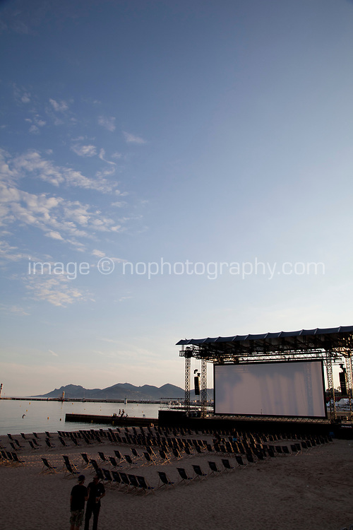 Cinéma de la Plage preperations underway for outfoor film screenings at the 70th Cannes Film Festival at Palais des festivals, starting 17th May. Cannes, France, Tuesday 16th May 2017