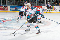 KELOWNA, CANADA - JANUARY 7: Reid Gardiner #23 of the Kelowna Rockets warms up with the puck against the Kamloops Blazers on January 7, 2017 at Prospera Place in Kelowna, British Columbia, Canada.  (Photo by Marissa Baecker/Shoot the Breeze)  *** Local Caption ***