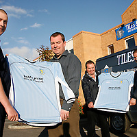 David Cassidy (Turnpike junior manager), Brian Pyne (Brian Pyne Tiles and Bathware, sponsor), John Pyne (secretary Turnpike) and Frank Gromley (Turnpike chairman) with their new soccer kit.<br /><br /><br /><br />Photograph by Yvonne Vaughan.