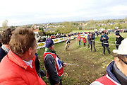 Friday 1 November 2013: Stewards watch Laurens Sweeck descend for the final time during the Koppenbergcross 2013 Beloften race. Copyright 2013 Peter Horrell