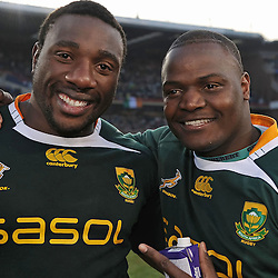Tendai Mtawarira with Chiliboy Ralepelle of South Africa <br /> during the British and Irish Lions tour 2009