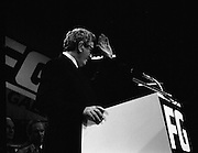 Fine Gael 63rd Ard Fheis..1986..12.10.1986..10.12.1986..12th October 1986..The 63rd Fine Gael Ard Fheis was held in the R.D.S.Dublin. An Taoiseach, Garret Fitzgerald, gave the leaders' oration to the assembled Fine Gael ranks..Pictured ascending to the podium and accepting the acclaim is An Taoiseach,Dr Garret Fitzgerald TD.