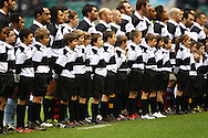 The Barbarians team line up for the national anthem during the match between between the Barbarians and South Africa at Twickenham, London, on Saturday 4th December 2010. (Photo by Andrew Tobin/SLIK images)