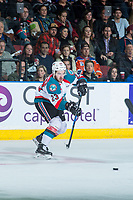 KELOWNA, CANADA - APRIL 14: Reid Gardiner #23 of the Kelowna Rockets passes the puck against the Portland Winterhawks on April 14, 2017 at Prospera Place in Kelowna, British Columbia, Canada.  (Photo by Marissa Baecker/Shoot the Breeze)  *** Local Caption ***