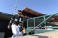 GLENDALE, AZ - MARCH 05:  Alexei Ramirez #10 of the Chicago White Sox looks on from the dugout prior to the spring training game between the Los Angeles Dodgers and Chicago White Sox on March 5, 2015 at The Ballpark at Camelback Ranch in Glendale, Arizona. (Photo by Ron Vesely)   Subject:  Alexei Ramirez
