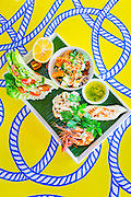 Seafood mixed grill:<br /> Snapper, Tiger Prawns, Calamari, garlic herb butter, asian vegetables & white rice