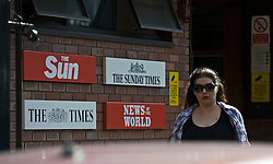 © Licensed to London News Pictures. LONDON, UK  07/07/11. General views of an entrance to News International today (Thurs). The News of the World newspaper will close after a final edition this weekend, News International chairman James Murdoch said today. Please see special instructions for usage rates. Photo credit should read Ben Cawthra/LNP