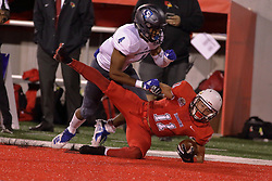 NORMAL, IL - September 08: Spencer Schnell falls into the red in the end zone with Raymond Crittenden unable to stop the score during 107th Mid-America Classic college football game between the ISU (Illinois State University) Redbirds and the Eastern Illinois Panthers on September 08 2018 at Hancock Stadium in Normal, IL. (Photo by Alan Look)